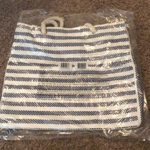 White and Navy DSW Tote Bag